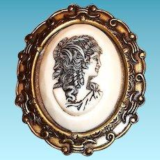 Raised Roman Ladies Head Glass Cameo Pin/Pendant In A Brass Frame