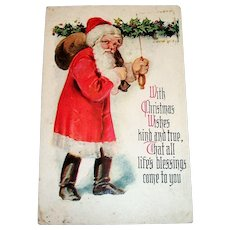 With Christmas Wishes King & True Postcard (Santa Walking In The Snow)