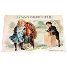 Nash: Thanksgiving, (Tommy's First & Turkey's Last Picture) Postcard - 1913