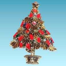 Pakula Rhinestones & Red Bow Christmas Tree Pin