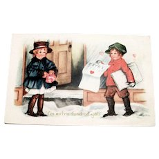 Whitney: I'm Extra Fond Of You Valentine Postcard (Girl Buying Newspaper From Paper Boy)