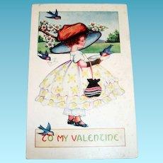 Whitney: To My Valentine Postcard (Girl In Big Hat)