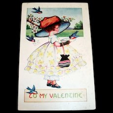 Whitney: To My Valentine Postcard (Girl In Big Hat)