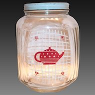 Hazel Atlas Red Teapot On A White Grid Design Glass Coffee Jar