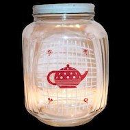 Hazel Atlas Red Teapot On A White Grid Design Glass Coffee Jar