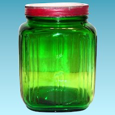 Nash's Green Glass With Tin Advertising Lid Coffee Jar