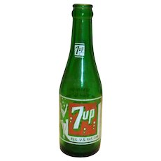 Vintage Green Glass 7UP Bottle With Swimsuit Girl On Front