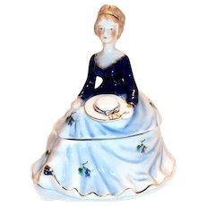 Limoges China Hand Painted Lady Figurine Trinket Box or Powder Dish