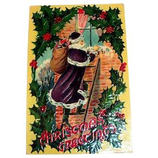 Christmas Greetings Postcard (Santa Claus Dressed in Purple)
