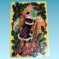 Christmas Greetings Postcard (Santa Claus Dressed in Purple)