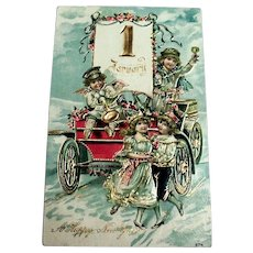 A Happy New Year Postcard (Little Angel & friends Sitting On Old Car)