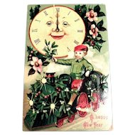 A Happy New Year Vintage Postcard (Big Clock & Boy On Train)