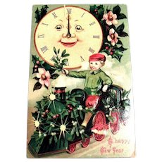 A Happy New Year Vintage Postcard (Big Clock & Boy On Train)