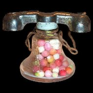 Old Tiny Glass Telephone Candy Holder With Metal Top & Orig. Candy