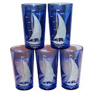 Hazel Atlas Moderntone Cobalt Blue Juice Glass 5 Oz.