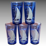 Hazel Atlas Moderntone Cobalt Blue Juice Glass 5 Oz.