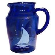Hazel Atlas Moderntone Cobalt Blue With White Ships Glass Pitcher