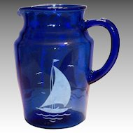 Hazel Atlas Moderntone Cobalt Blue With White Ships Glass Pitcher