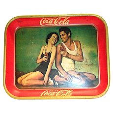 Coca Cola 1934 Johnny Weissmuller & Maureen O'Sullivan Metal Serving Tray