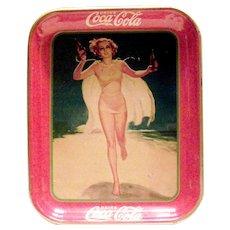 Coca Cola 1937 Lady In Yellow Suit & Cape Running On Beach Serving Tray