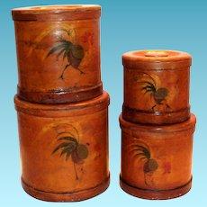 Ucago Bentwood Rooster Design Round Wooden Canister Set
