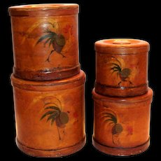 Ucago Bentwood Rooster Design Round Wooden Canister Set