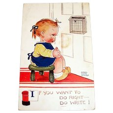 If You Want To Do Right--Do Write! Postcard - Attwell