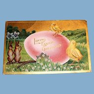 Loving Easter Greetings Postcard (Large Pink Egg, Chicks & Rabbits)