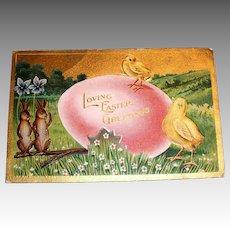 Loving Easter Greetings Postcard (Large Pink Egg, Chicks & Rabbits)