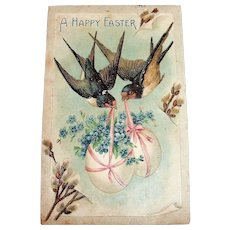 A Happy Easter Postcard (Blue Birds With Eggs)