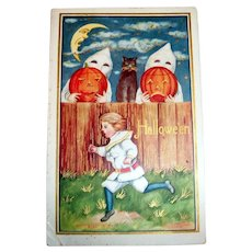 Halloween Postcard: (Boy Running Away From Ghosts)