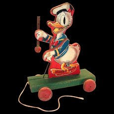 Fisher Price 1948 Donald Duck Majorette Pull Toy
