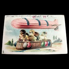 Tucks: Easter Happiness Postcard (Chicks in Hot Air Balloon)