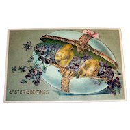 Easter Greetings Postcard (Violets & Chicks in Egg Trinket Box)