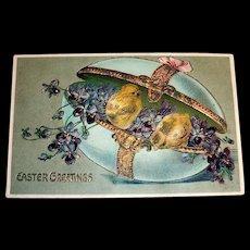 Easter Greetings Postcard (Violets & Chicks in Egg Trinket Box)