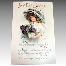 Int'l Art Publ. Co.: Clapsaddle: Best Easter Wishes Postcard (Girl with Large Hat)