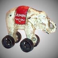 Jumbo Cast Iron Elephant Bank On Wheels