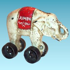 Jumbo Cast Iron Elephant Bank On Wheels