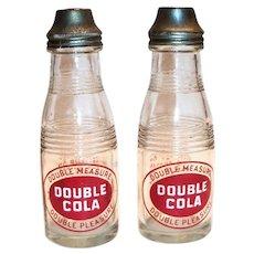 Double Cola Glass & Chrome Small Bottle Salt & Pepper Shakers