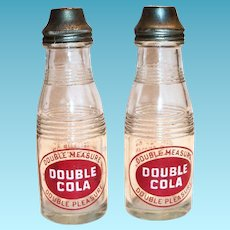 Double Cola Glass & Chrome Small Bottle Salt & Pepper Shakers