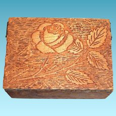 Pyrography Rose & Leaf Design Wooden Trinket Box