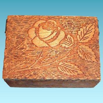 Pyrography Rose & Leaf Design Wooden Trinket Box