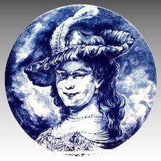 Delft Boch La Louviere Blue & White Renaissance Lady Charger/Plate