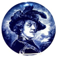 Delft: Boch La Louviere Renaissance Man Blue & White Charger Plate