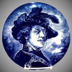 Delft: Bock La Louviere Renaissance Man Blue & White Charger Plate