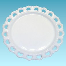 White Milk Glass Round Platter With Open Lace Trim