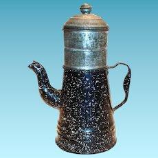Small Black Speckled Enamel Drip-Grind Coffee Pot