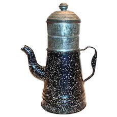 Small Black Speckled Enamel Drip-Grind Coffee Pot