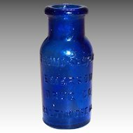 "Cobalt Blue Emerson Bromo-Seltzer 2""T Glass Bottle"