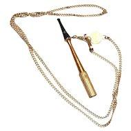 Vintage Gold Tone Cigarette Holder Necklace